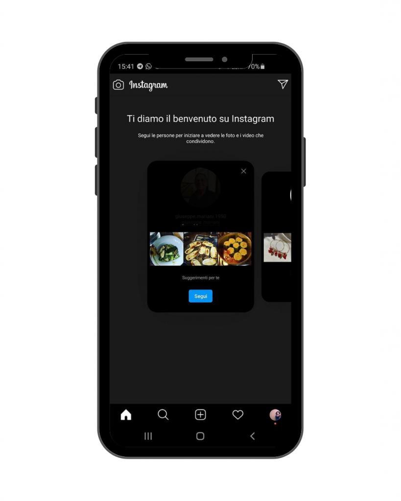 content discovery suggerimento segui profili nel feed Instagram