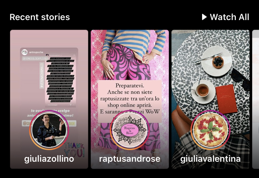 content discovery storie recenti feed instagram