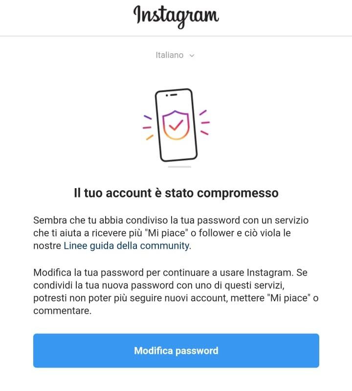 il tuo account è stato compromesso